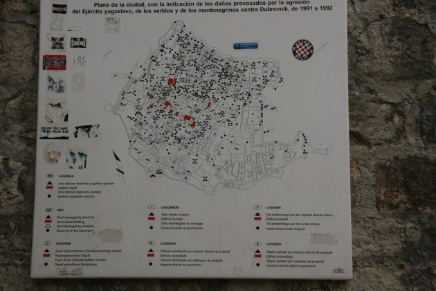 Karte mit den im Bürgerkrieg zerstörten und beschädigten Bereichen der Altstadt