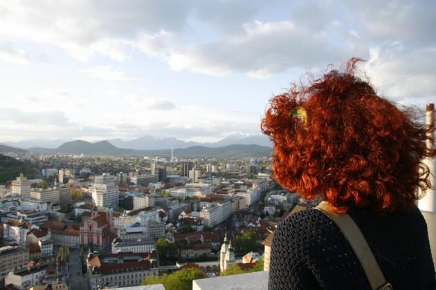Auf dem Bergfried der Burg in Ljubljana