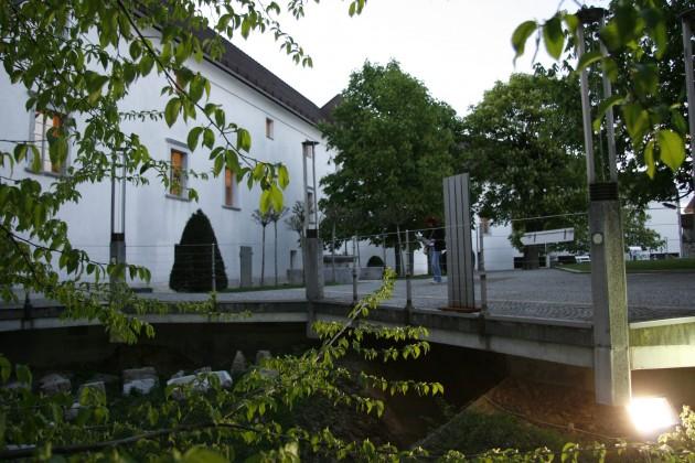 Im Innenhof der Bug Laibach in Ljubljana