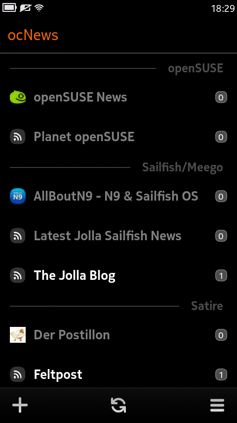 ocNews MeeGo 1.6.0 Feeds Main View