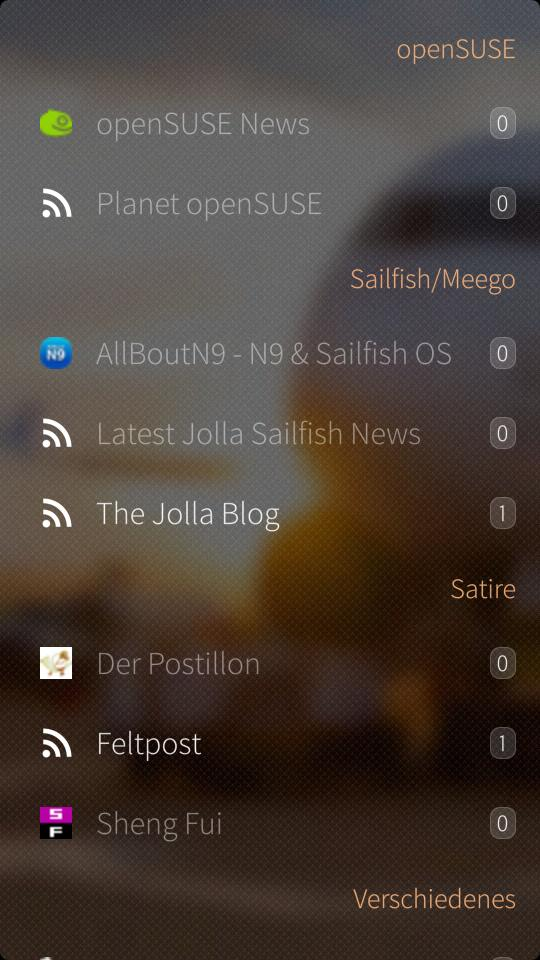 ocNews Sailfish 1.6.0 Feeds Main View