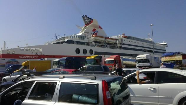Die Fähre vor der Abfahrt in Ancona.