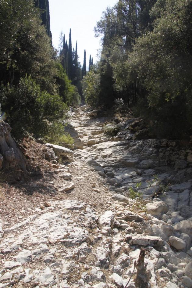Im Sommer ausgetrocknetes Flussbett am Mühlenwanderweg